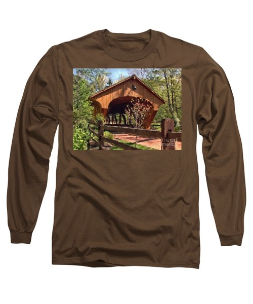 Covered Bridge At Olmsted Falls-spring Long Sleeve T-Shirt