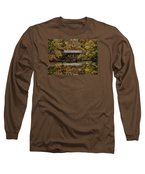 Long Sleeve T-Shirt featuring the photograph Covered Bridge At Sturbridge Village by Jeff Folger