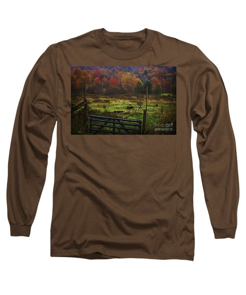 Long Sleeve T-Shirt featuring the photograph Cow Pasture In Autumn by Debra Fedchin
