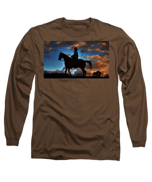 Long Sleeve T-Shirt featuring the photograph Cowboy Silhouette by Ken Smith