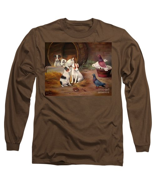 Long Sleeve T-Shirt featuring the painting Curious Friends by Hazel Holland