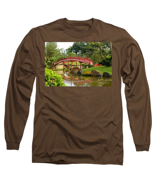 Curved Red Japanese Bridge And Stream Chinese Gardens Singapore Long Sleeve T-Shirt