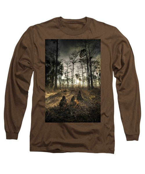 Cypress Stumps And Sunset Fire Long Sleeve T-Shirt by Bradley R Youngberg