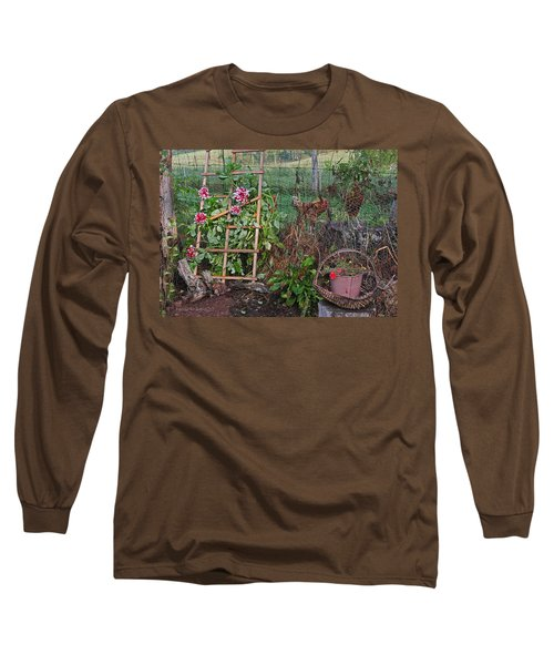 Long Sleeve T-Shirt featuring the photograph Dahlias And Chickens by Denise Romano