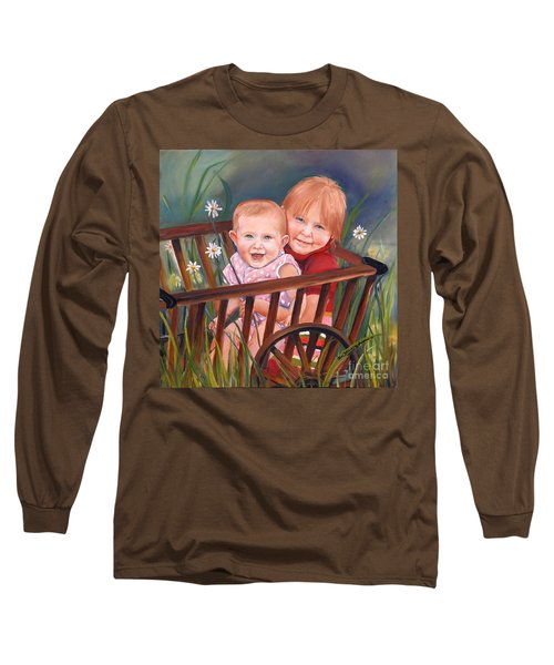 Long Sleeve T-Shirt featuring the painting Daisy - Portrait - Girls In Wagon by Jan Dappen
