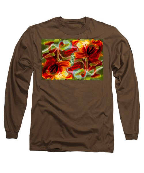 Long Sleeve T-Shirt featuring the painting Dancing Flowers by Omaste Witkowski