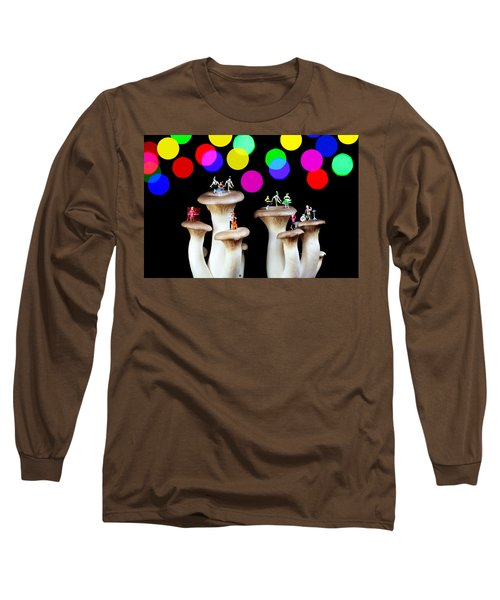 Dancing On Mushroom Under Starry Night Long Sleeve T-Shirt by Paul Ge