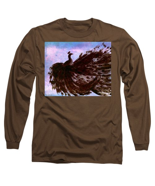 Long Sleeve T-Shirt featuring the digital art Dancing Peacock Blue Pink Wash by Anita Lewis