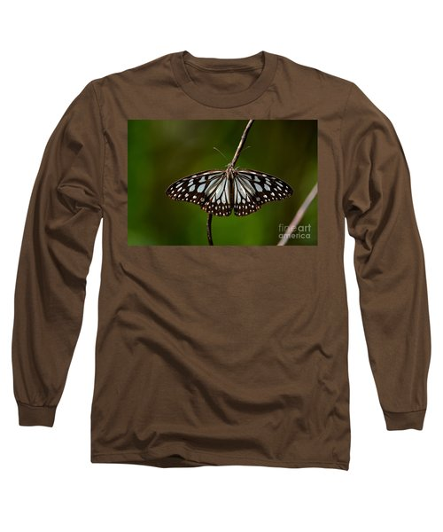 Dark Glassy Tiger Butterfly On Branch Long Sleeve T-Shirt by Imran Ahmed