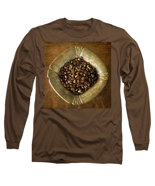 Dark Roast Coffee Beans And Antique Silver Long Sleeve T-Shirt