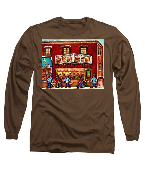 Decarie Hot Dog Restaurant Cosmix Comic Store Montreal Paintings Hockey Art Winter Scenes C Spandau Long Sleeve T-Shirt