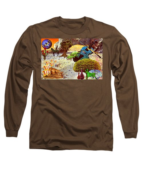 Long Sleeve T-Shirt featuring the mixed media Desert Blues by Ally  White