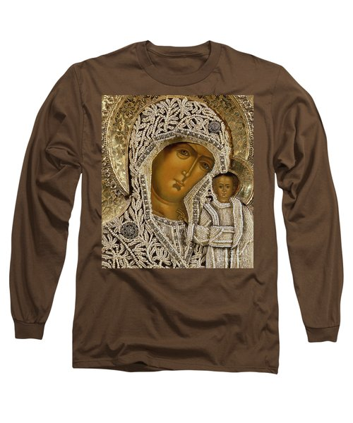 Detail Of An Icon Showing The Virgin Of Kazan By Yegor Petrov Long Sleeve T-Shirt