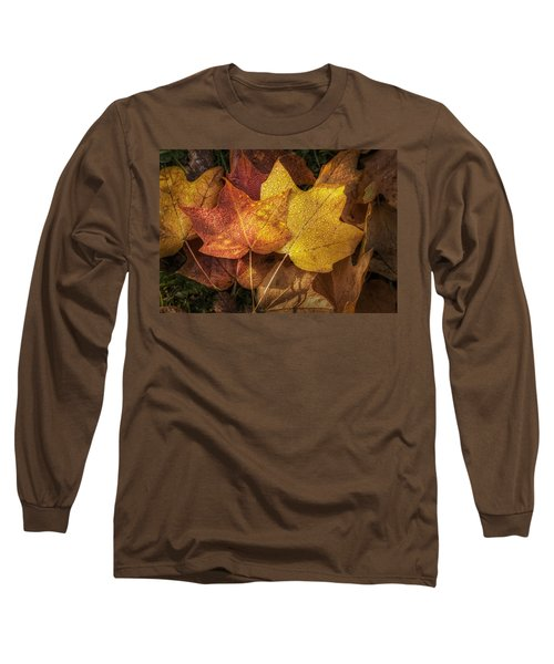 Dew On Autumn Leaves Long Sleeve T-Shirt