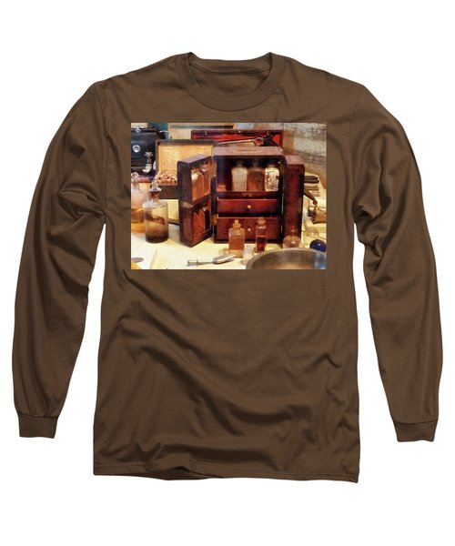 Long Sleeve T-Shirt featuring the photograph Doctor - Case With Medicine Bottles by Susan Savad