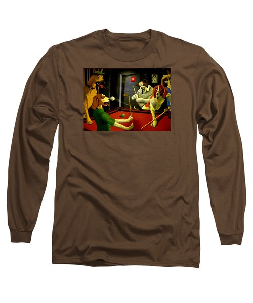 Dogs Playing Pool Wall Art Unknown Painter Long Sleeve T-Shirt by Kathy Barney