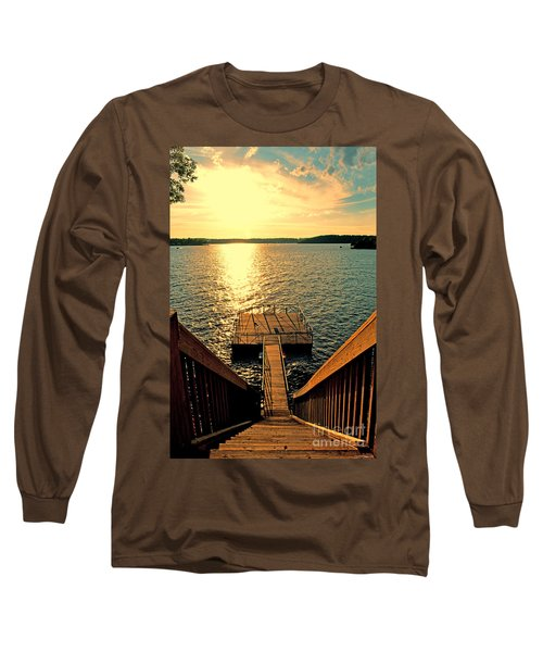 Down To The Fishing Dock - Lake Of The Ozarks Mo Long Sleeve T-Shirt by Debbie Portwood