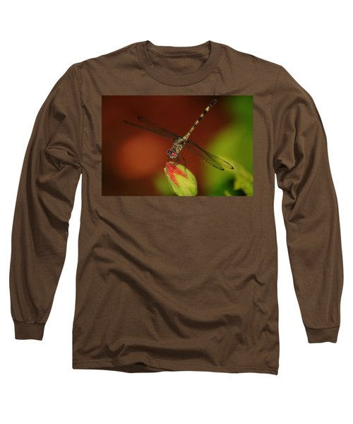 Long Sleeve T-Shirt featuring the photograph Dragonfly On Hibiscus by Leticia Latocki