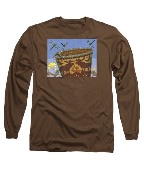 Long Sleeve T-Shirt featuring the painting Dragonfly - Cohkanapises by Chholing Taha