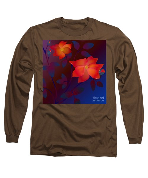 Long Sleeve T-Shirt featuring the digital art Dreaming Wild Roses by Latha Gokuldas Panicker