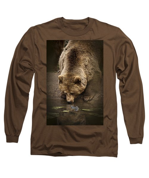 Drinking Brown Bear Long Sleeve T-Shirt