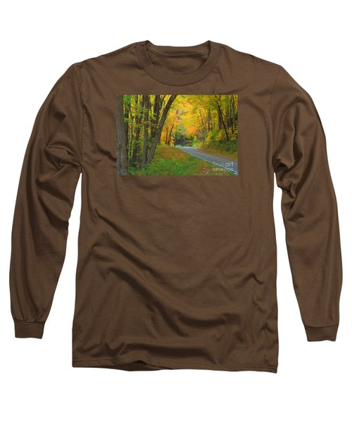 Long Sleeve T-Shirt featuring the photograph Driving Into Fall by Geraldine DeBoer