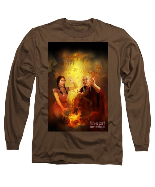 Long Sleeve T-Shirt featuring the painting Drum Story Elders Teaching by Rob Corsetti