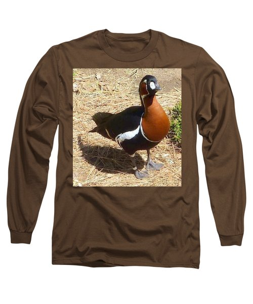 Duck Brown White Black Long Sleeve T-Shirt by Susan Garren