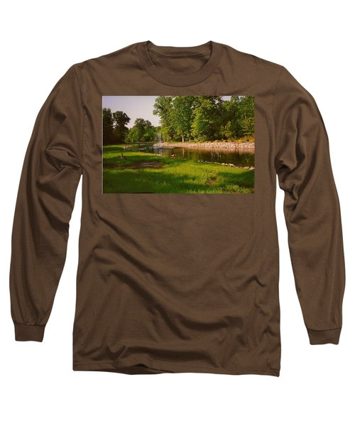Long Sleeve T-Shirt featuring the photograph Duck Pond With Water Fountain by Amazing Photographs AKA Christian Wilson