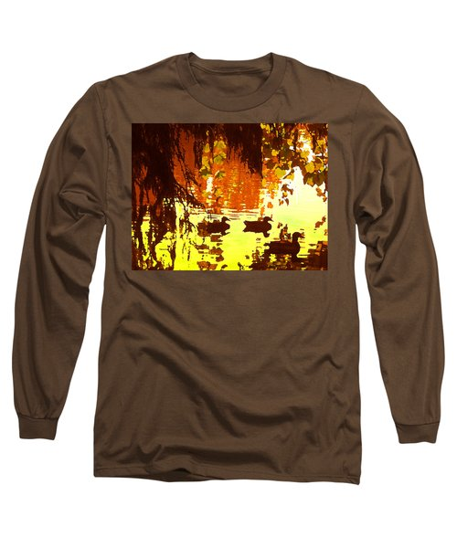 Ducks On Red Lake Long Sleeve T-Shirt