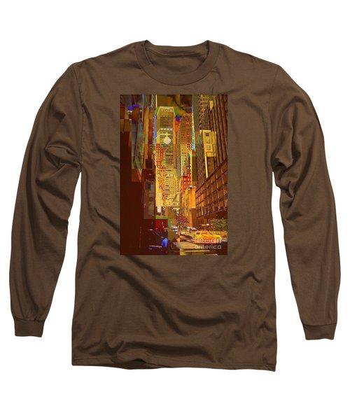 East 45th Street - New York City Long Sleeve T-Shirt by Miriam Danar