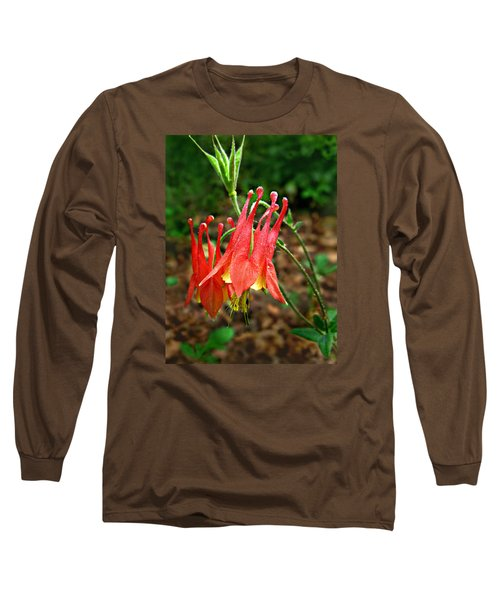 Wild Eastern Columbine Long Sleeve T-Shirt by William Tanneberger
