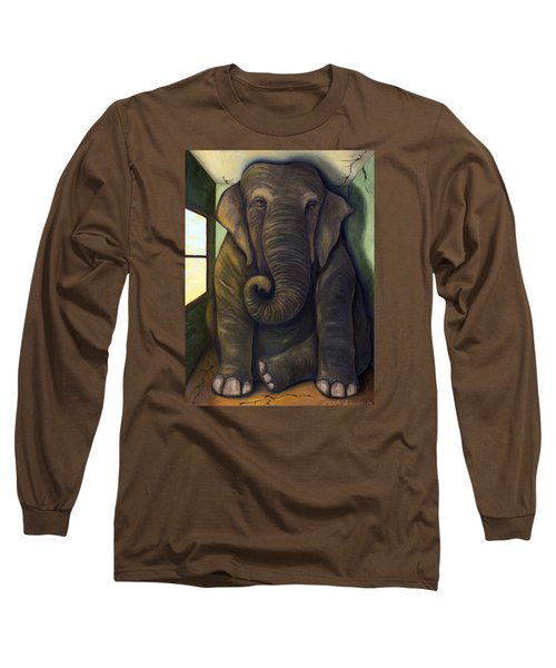 Elephant In The Room Long Sleeve T-Shirt by Leah Saulnier The Painting Maniac