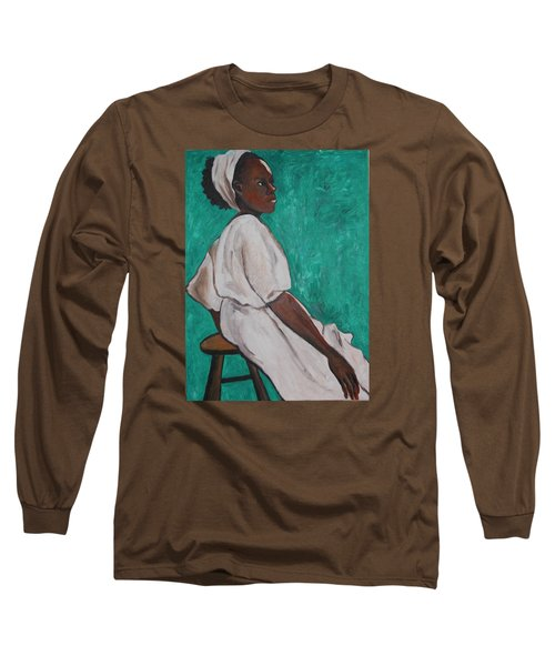 Ethiopian Woman In Green Long Sleeve T-Shirt by Esther Newman-Cohen