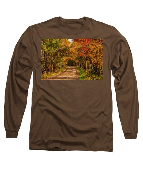 Long Sleeve T-Shirt featuring the photograph Fall Color Along A Dirt Backroad by Jeff Folger