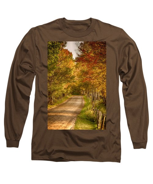 Long Sleeve T-Shirt featuring the photograph Fall Color Along A Peacham Vermont Backroad by Jeff Folger
