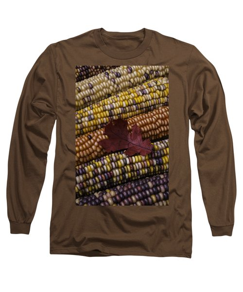 Fall Indian Corn With Leaf Long Sleeve T-Shirt