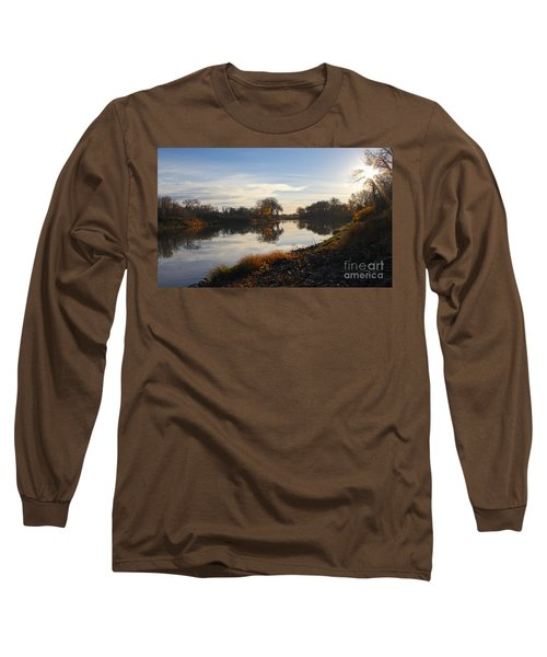 Fall Red River At Sunrise Long Sleeve T-Shirt