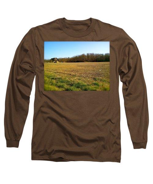 Farm Field With Old Barn Long Sleeve T-Shirt