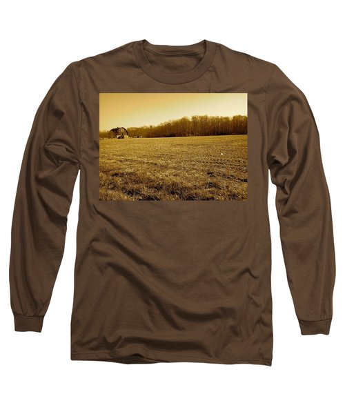 Farm Field With Old Barn In Sepia Long Sleeve T-Shirt by Amazing Photographs AKA Christian Wilson