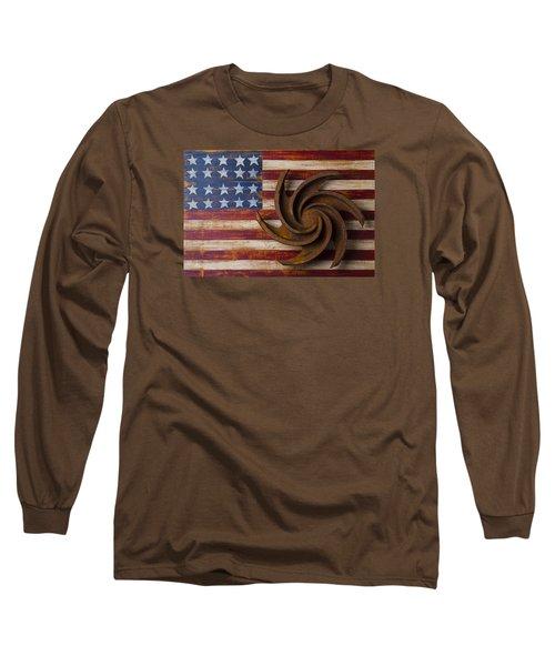 Farming Tool On American Flag Long Sleeve T-Shirt