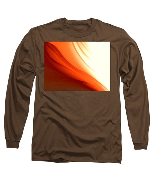 Long Sleeve T-Shirt featuring the digital art Glowing Orange Abstract by Gabriella Weninger - David