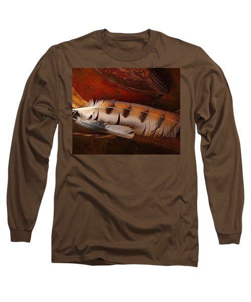 Feather And Leather Long Sleeve T-Shirt