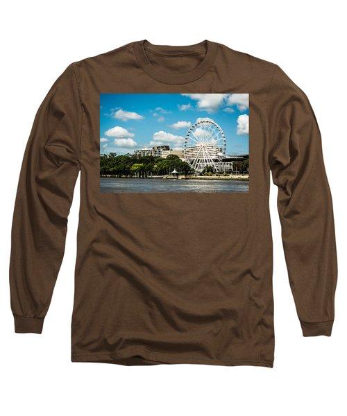 Ferris Wheel On The Brisbane River Long Sleeve T-Shirt by Parker Cunningham