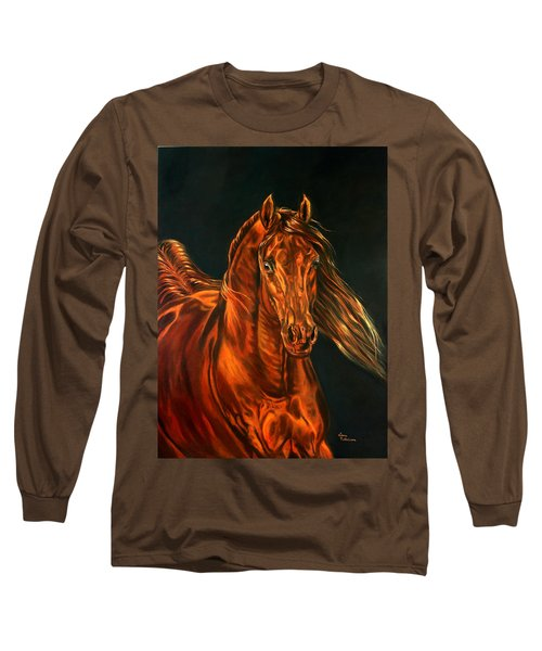 Long Sleeve T-Shirt featuring the painting Fire by Leena Pekkalainen