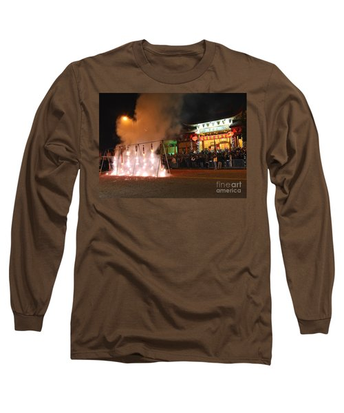 Firecrackers At Night During The Chinese New Years Celebration. Long Sleeve T-Shirt
