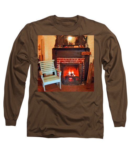 The Family Hearth - Fireplace Old Rocking Chair Long Sleeve T-Shirt by Rebecca Korpita