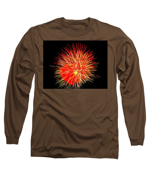 Long Sleeve T-Shirt featuring the photograph Fireworks In Red And Yellow by Michael Porchik