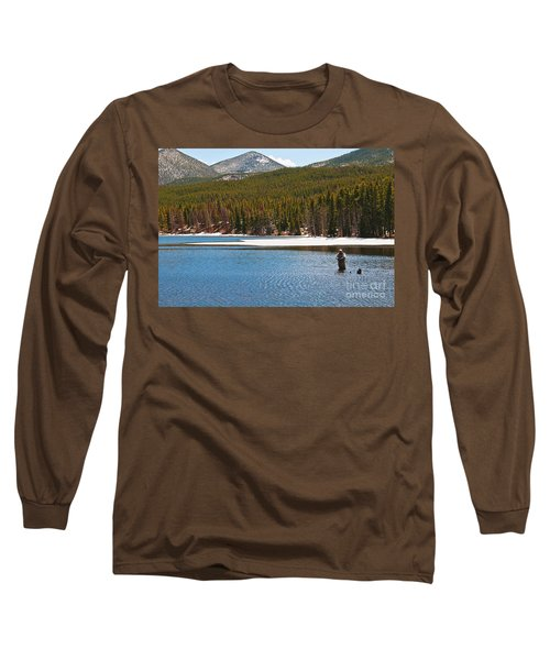 Long Sleeve T-Shirt featuring the photograph Fishing In Winter by Mae Wertz