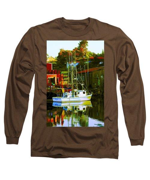 Fish'n Boat At Harbor Long Sleeve T-Shirt
